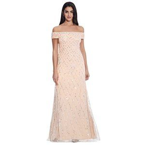 NWT ADRIANNA PAPELL Off The Shoulder Beaded Dress